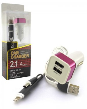 Es 12 2in1 Car Charger Pink